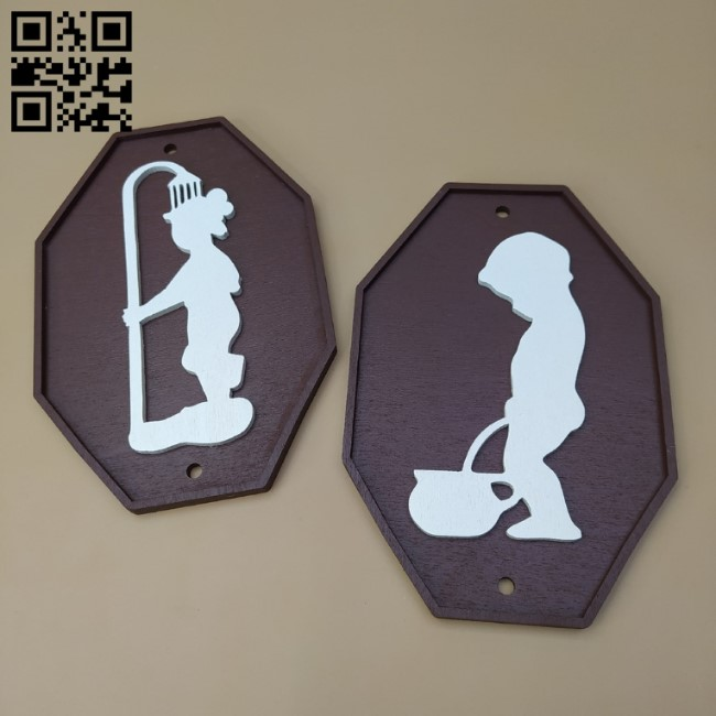 Toilet and Bathroom Plates E0011526 file cdr and dxf free vector download for Laser cut