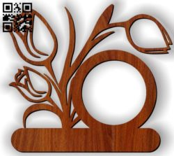 Tulips photo frame E0011517 file cdr and dxf free vector download for Laser cut