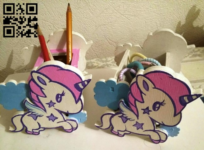 Unicorn pencil holder E0011386 file cdr and dxf free vector download for Laser cut