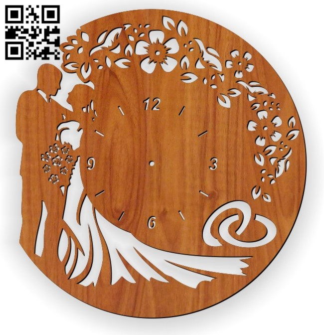 Wedding clock E0011560 file cdr and dxf free vector download for Laser cut
