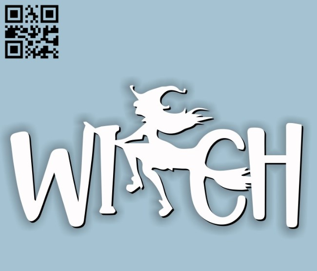 Witch rides a broom E0011589 file cdr and dxf free vector download for Laser cut