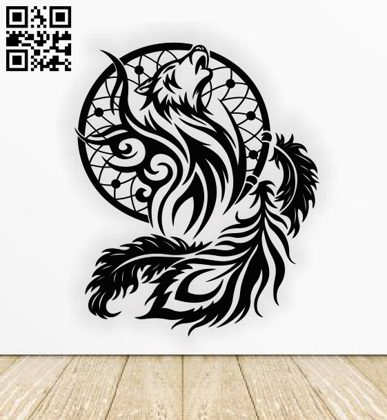 Wolf dreamcatcher E0011470 file cdr and dxf free vector download for Laser cut
