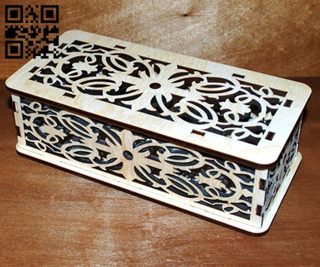 Wooden box E0011418 file cdr and dxf free vector download for laser cut