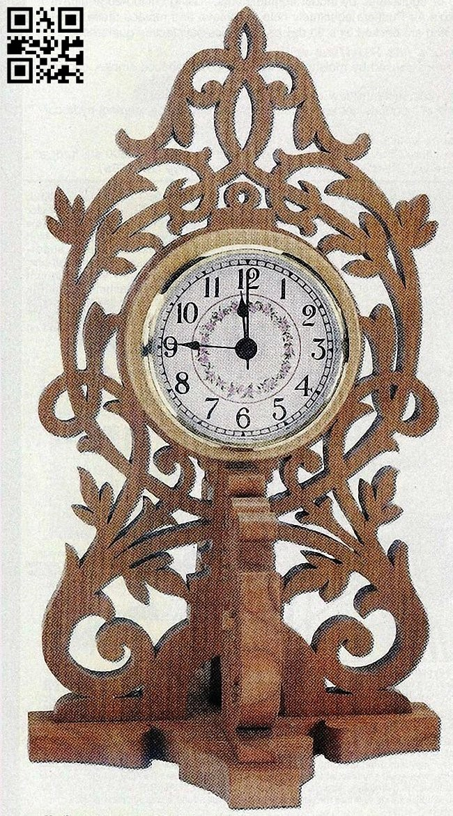 Wooden clock E0011546 file cdr and dxf free vector download for laser cut