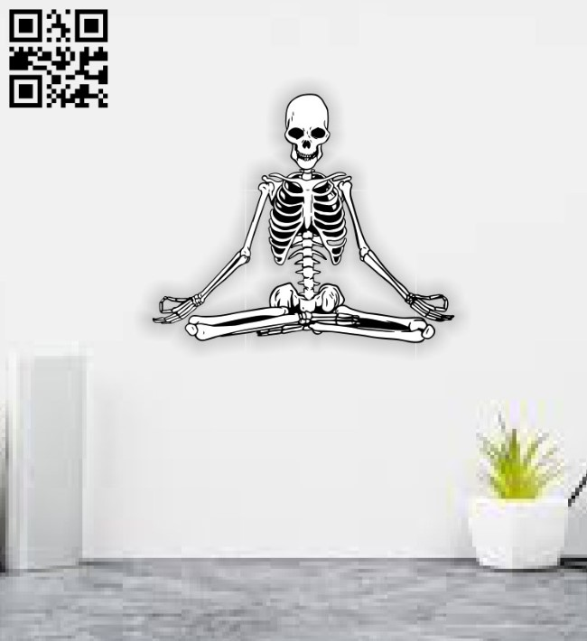 Yoga skeleton E0011578 file cdr and dxf free vector download for laser engraving machines