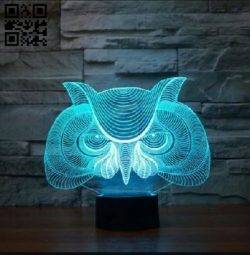 3D illusion led lamp Owl E0011871 file cdr and dxf free vector download for laser engraving machines