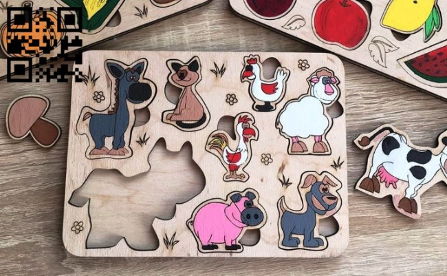 Animal puzzle E0011940 file cdr and dxf free vector download for laser cut