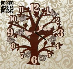 Bird Tree Clock E0011718 file cdr and dxf free vector download for laser cut