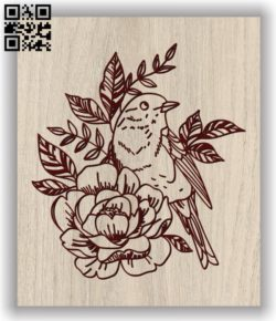 Bird and flowers E0011661 file cdr and dxf free vector download for laser engraving machines