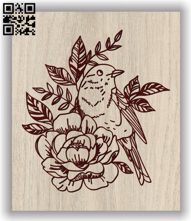 Bird and flowers E0011661file cdr and dxf free vector download for laser engraving machines