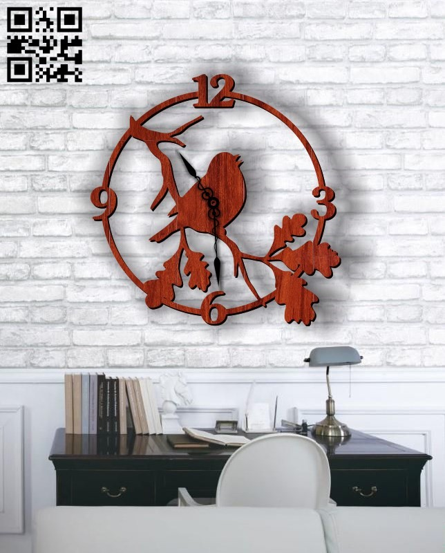 Bird clock E0011783 file cdr and dxf free vector download for Laser cut