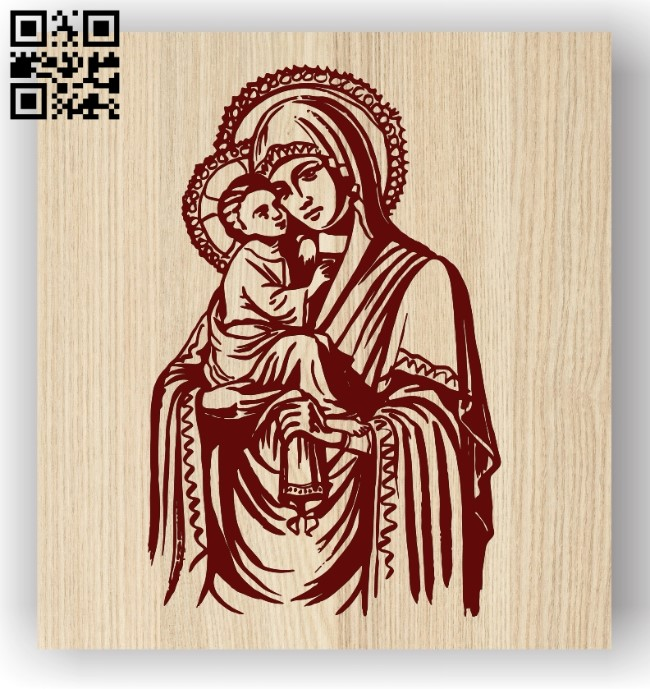 Blessed mother and son E0011903 file cdr and dxf free vector download for laser engraving machines