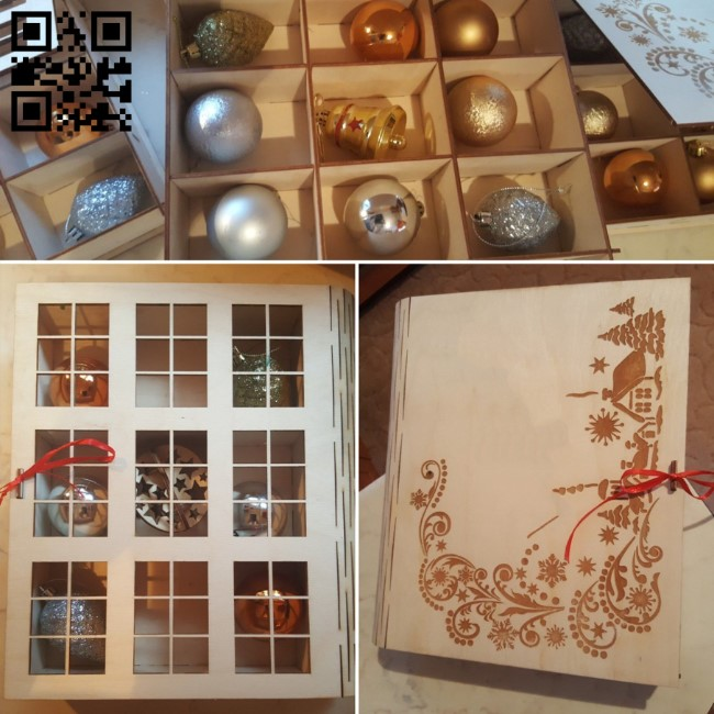 Box for Christmas decorations E0011947 file cdr and dxf free vector download for laser cut