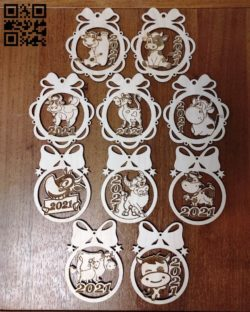 Bull Christmas balls E0011890 file cdr and dxf free vector download for laser cut