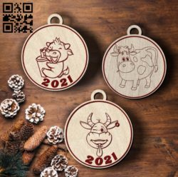 Bull decorated christmas tree E0011927 file cdr and dxf free vector download for laser cut