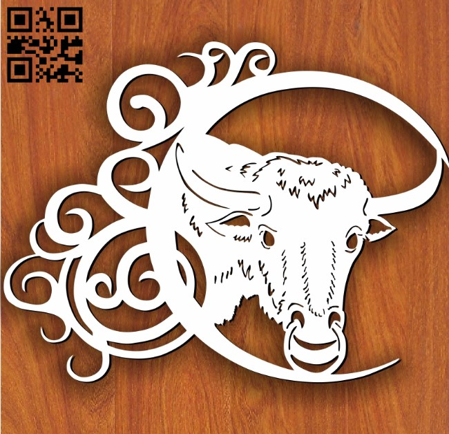 Bull pattern E0011643 file cdr and dxf free vector download for Laser cut