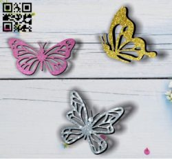 Butterflies E0011811 file cdr and dxf free vector download for Laser cut