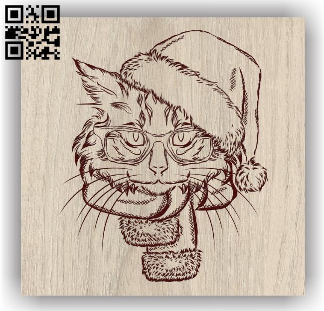 Cat with Christmas E0011894 file cdr and dxf free vector download for laser engraving machines
