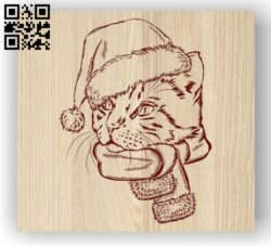 Cat with new year E0011902 file cdr and dxf free vector download for laser engraving machines
