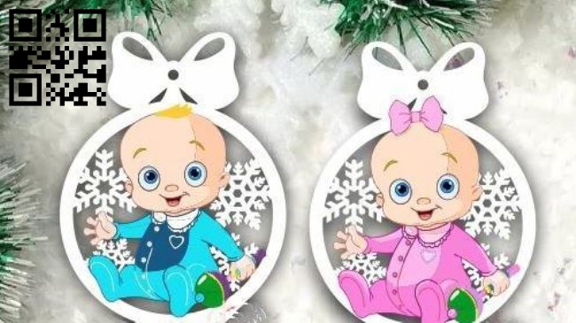 Christmas balls with children E0011812 file cdr and dxf free vector download for Laser cut