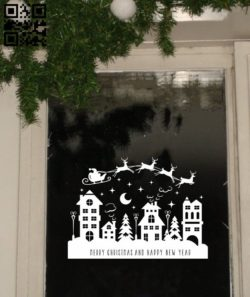 Christmas city E0011779 file cdr and dxf free vector download for Laser cut