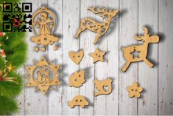 Christmas toys E0011888 file cdr and dxf free vector download for laser cut