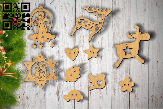 Christmas toys E0011885 file cdr and dxf free vector download for laser cut