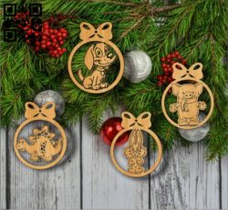 Christmas tree decoration animals E0011774 file cdr and dxf free vector download for Laser cut