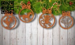 Christmas tree decoration animals E0011794 file cdr and dxf free vector download for Laser cut