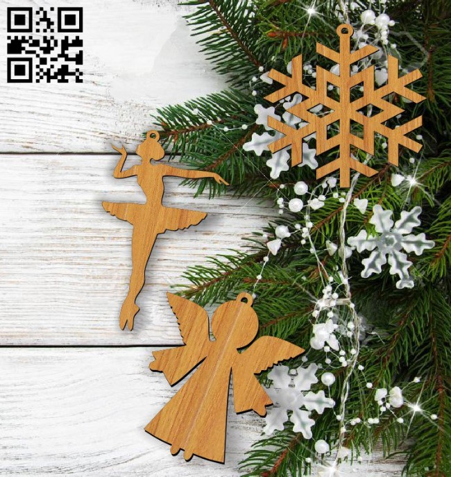 Christmas tree decoration toys E0011758 file cdr and dxf free vector download for laser cut