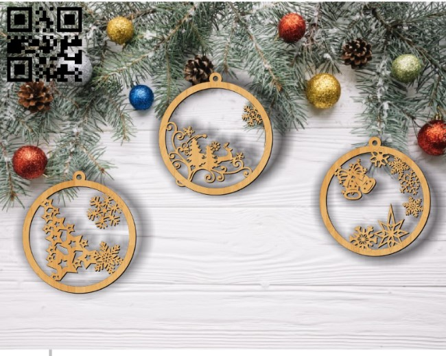 Christmas tree decoration toys E0011835 file cdr and dxf free vector download for Laser cut