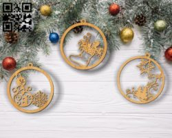 Christmas tree decoration toys E0011850 file cdr and dxf free vector download for laser cut