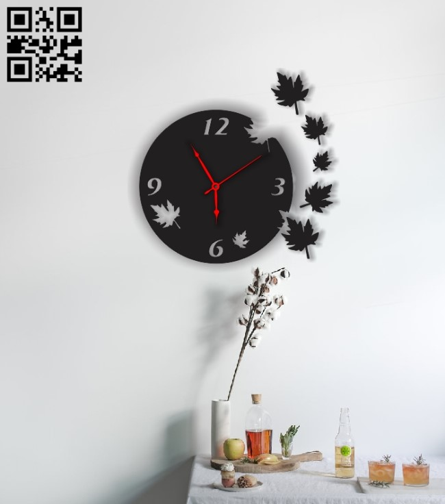 Clock has leaves E0011879 file cdr and dxf free vector download for laser cut