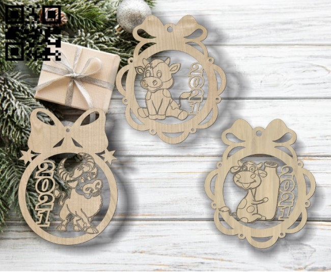 Cow christmas balls E0011838 file cdr and dxf free vector download for Laser cut