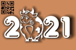 Cows with the new year 2021 E0011848 file cdr and dxf free vector download for laser cut