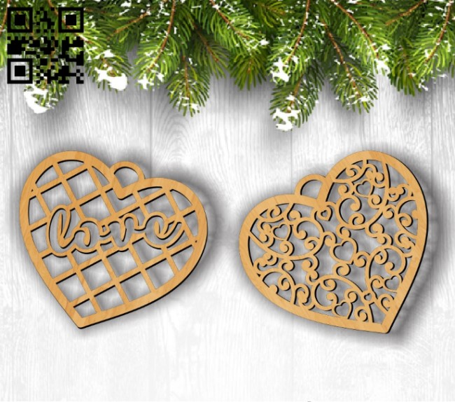 Decorative hearts E0011806 file cdr and dxf free vector download for Laser cut