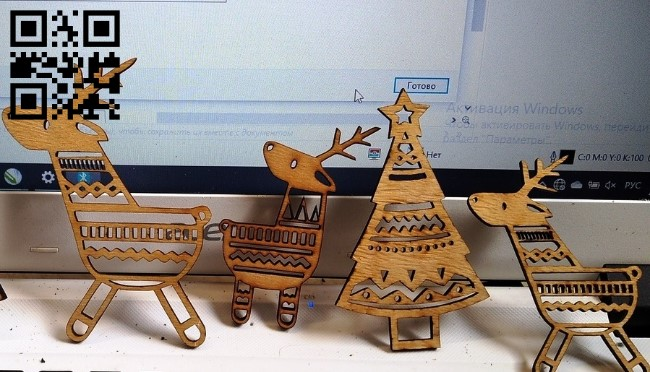 Deer with Christmas tree E0011863 file cdr and dxf free vector download for laser cut