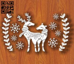 Deers with winter E0011750 file cdr and dxf free vector download for laser cut