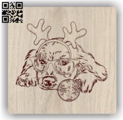 Dog with Christmas E0011893 file cdr and dxf free vector download for laser engraving machines