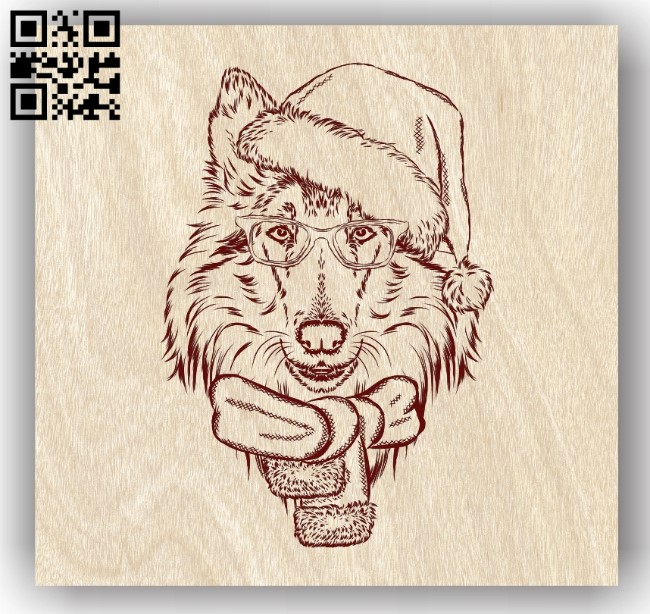 Dog with Christmas E0011905 file cdr and dxf free vector download for laser engraving machines