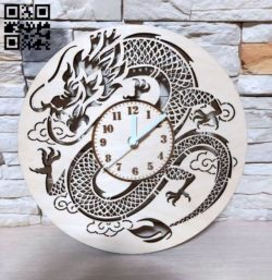 Dragon Clock E0011839 file cdr and dxf free vector download for laser cut