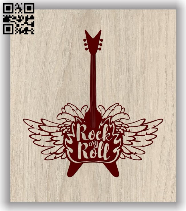 Electric guitar with wings E0011747 file cdr and dxf free vector download for laser engraving machines
