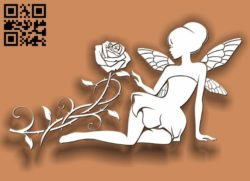 Fairies with Rose E0011740 file cdr and dxf free vector download for laser cut