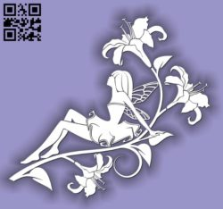 Fairies with lily flowers E0011739 file cdr and dxf free vector download for laser cut