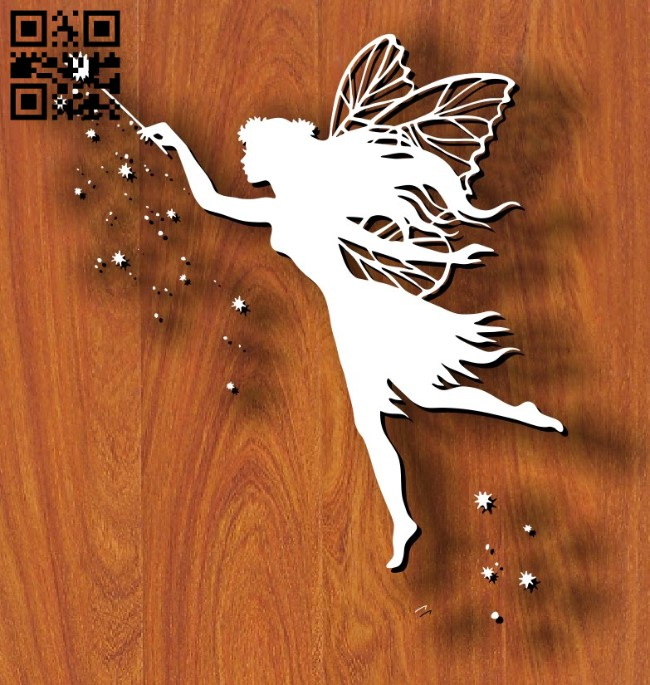 Fairy with magic wand E0011844 file cdr and dxf free vector download for laser cut