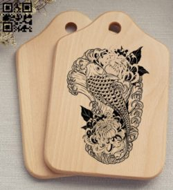 Fish with chrysanthemums E0011695 file cdr and dxf free vector download for laser engraving machines