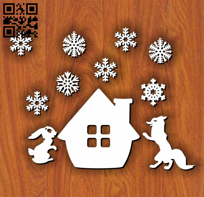 Fox and the rabbit E0011651file cdr and dxf free vector download for laser cut