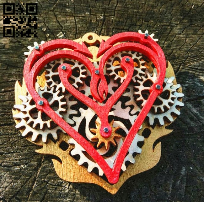 Gear heart keychain E0011930 file cdr and dxf free vector download for laser cut
