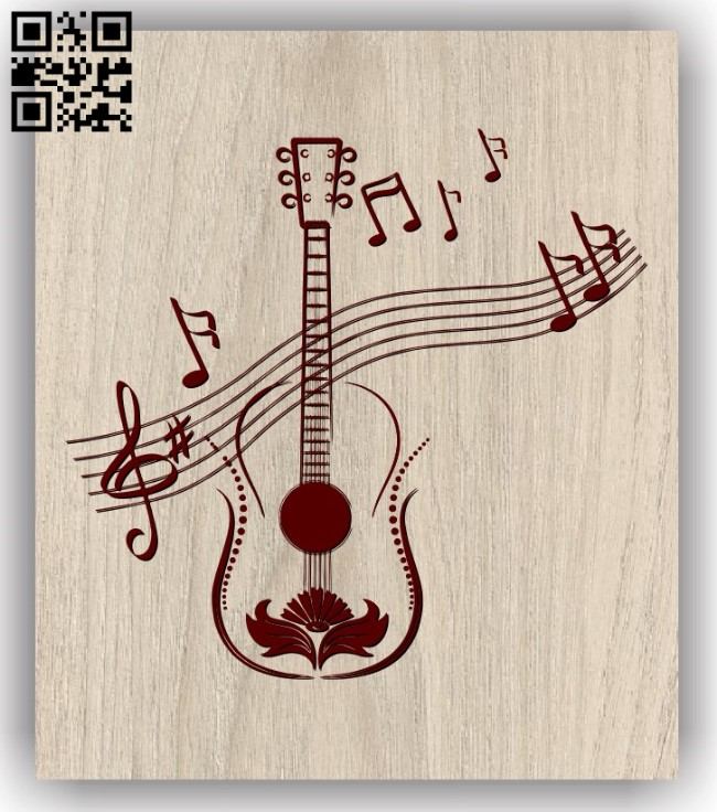 Guitar and treble buckle E0011756 file cdr and dxf free vector download for laser engraving machines