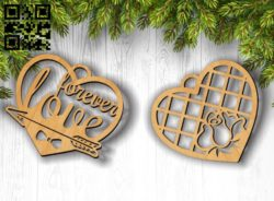 Heart love E0011805 file cdr and dxf free vector download for Laser cut